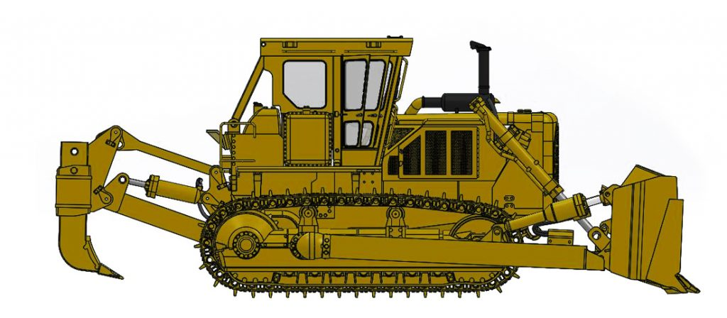 Cat D8K with Closed ROPS, U-Blade & Multi-Shank Ripper