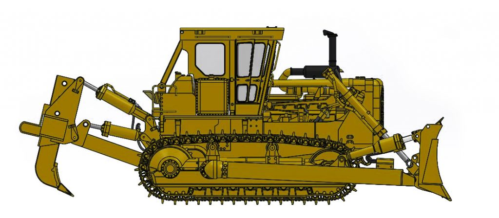Cat D8K with Closed ROPS, S-Blade & Single-Shank Ripper